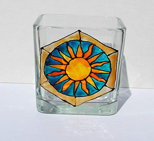 Sun Celestial Stained Glass Hand Painted Square Candle Holder