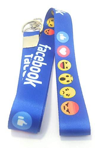Key Tech Facebook Lanyard Id Card Holder Fabric Keychain
