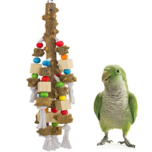 MEWTOGO Natural Wood Large Parrot Toy Bird Chewing Toys- Pepper Wood Blocks Wooden Stick Bird Tearing Toys Bite Toy for Macaws Cokatoos Parakeet African Grey and Large Amazon Parrots