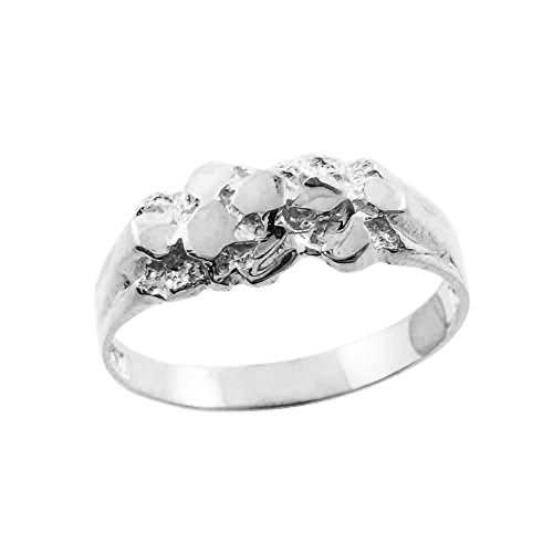 Solid 10k White Gold Polished Nugget Baby Ring (Size - Gold Nugget Ring White