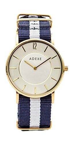 Reloj de Mujer Aresso design en acero dorado y correa de nylon en azul y blanco
