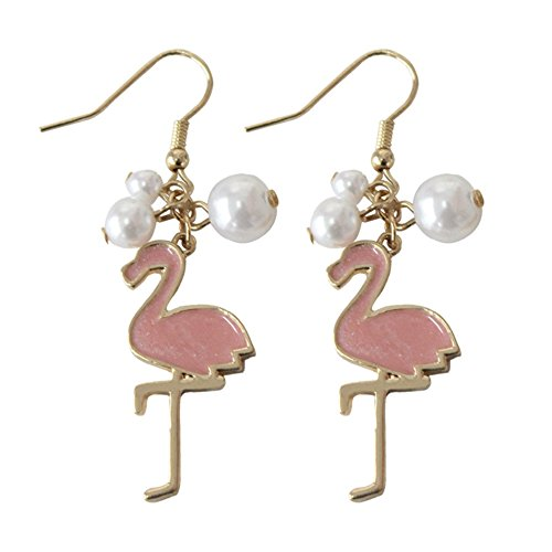 Gold Plated Pink Flamingo Fashionable Dangle Earrings Cute Bird Jewelry for Christmas Gifts (with pearl)