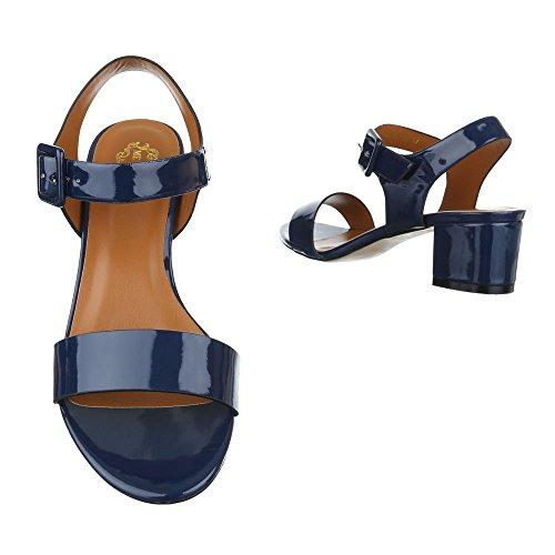 Ital-Design - Sandalias de vestir de Material Sintético para mujer azul oscuro