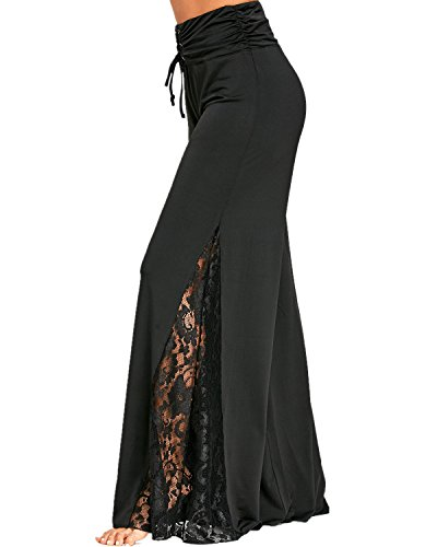 GAMISS Womens Side Slit Wide Leg Palazzo Pants High Waisted Lace Insert(Black,L)