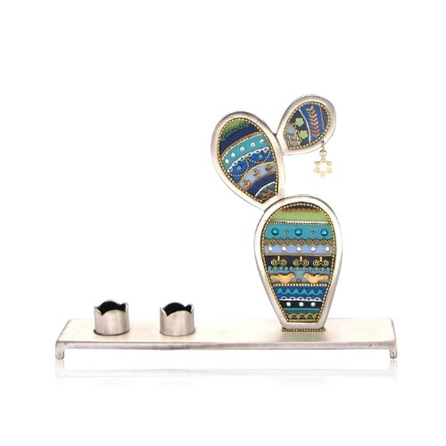 Vibrant Pewter Shabbat Candle Holder with Blue Cactus by Ester Shahaf