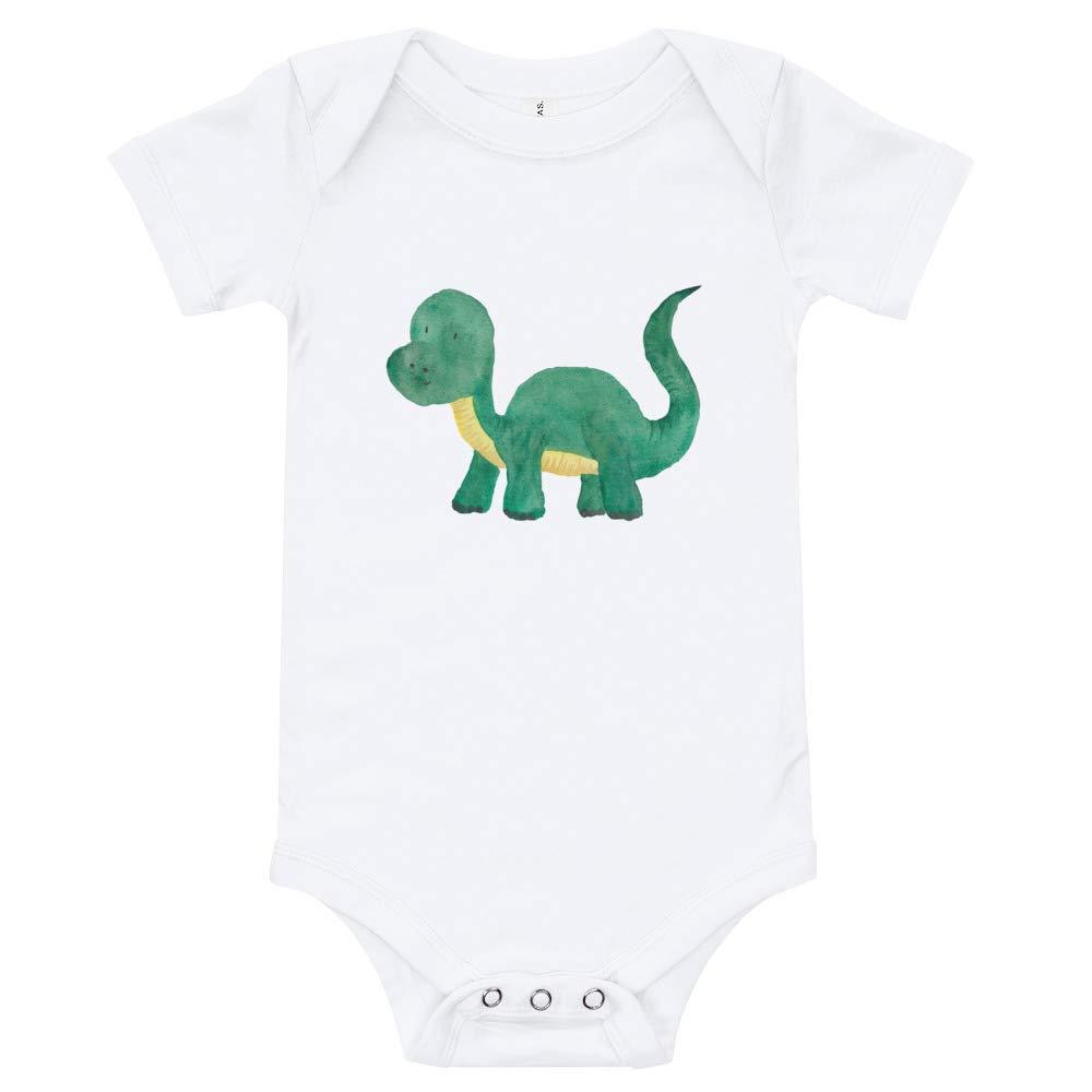 Cute Dinosaur Newborn White Happy Lazy Shade T-Shirt Onesie Green