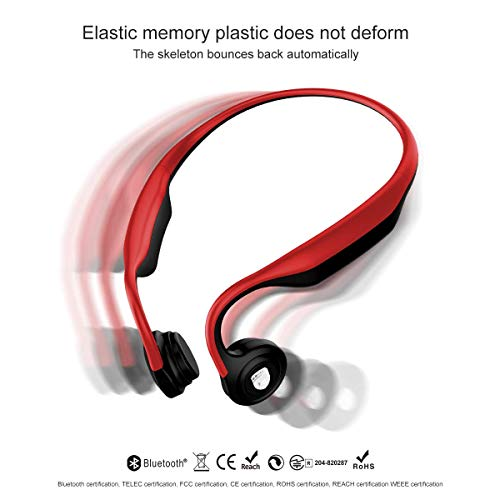 Bone Conduction Headphones Open-Ear Bluetooth Wireless Sports Headsets HiFi Music Stereo with Mic Sweatproof Noise Cancelling Earphone for PC Cell Phones TV Red