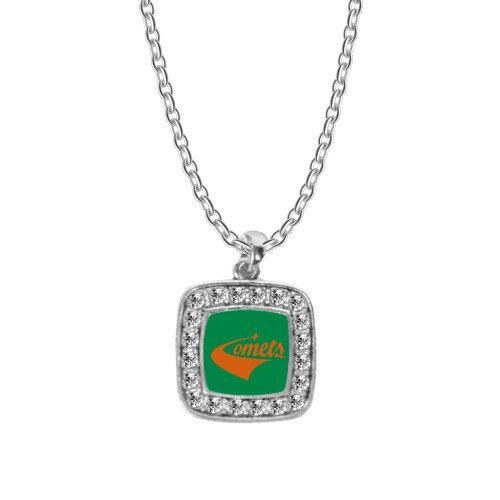 CollegeFanGear UT Dallas Crystal Studded Square Pendant Silver Necklace 'Official -