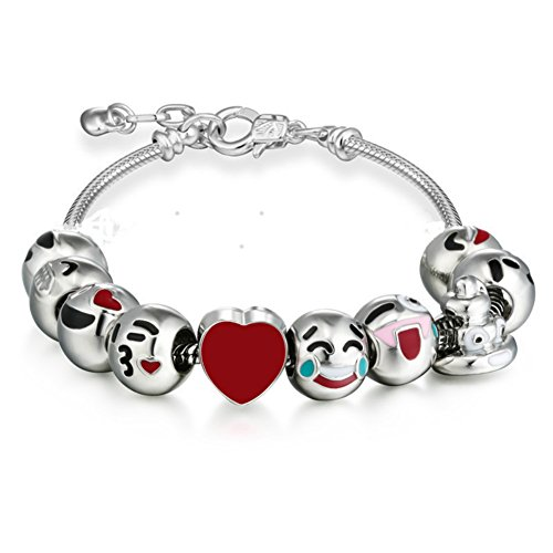 Emoticon Slide Charm Bracelet Adjustable Chain Emoji Bracelets for Girls (Heart Shaped Bracelet Slide)