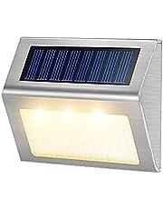 Want Want Lin Nieuwe Outdoor Rvs LED Solar Path Trap Licht Waterdicht 3 LED Solar Deck lights balkon tuin yard hek zonne-verlichting (Emitting Color : Warm White, Wattage : 6pcs)