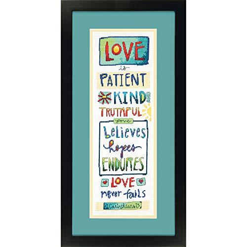 Love Counted Cross Stitch Pattern - Dimensions 'Love Is' Counted Cross Stitch Kit for Beginners, 14 Count White Aida Cloth, 6'' x 18''