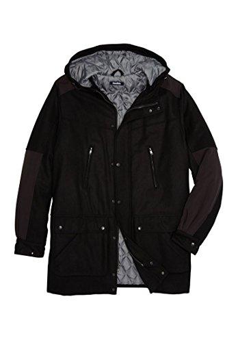 - KingSize Men's Big & Tall Wool Parka, Black Tall-4Xl