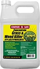 Get to the root and kill grass and weeds with Compare-N-Save 41-percent Glyphosate Concentrate Grass and Weed Killer. Use for lawn or garden replacement, on patios, walkways, or in and around fences and gardens to remove unwanted grass and we...