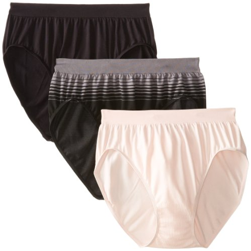 Comfort Revolution Hi-Cut Panty, Black/Blushing Pink/Excalibur/Black Variegated Stripe, 8/9 ()
