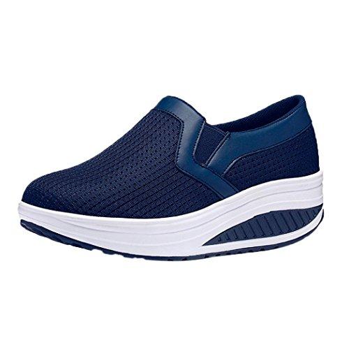 Lazzboy Damen Mode Atmungsaktive Schuhe Casual Turnschuhe Fitness Schuhe Plattform Sneaker Blau