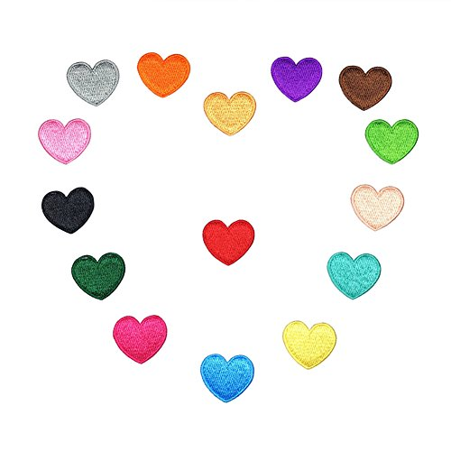XUNHUI Love Heart Iron On Patch Sewing On Embroidered Applique Patch Clothes Stickers Mix Color DIY Apparel Accessories 15PCS/Set -