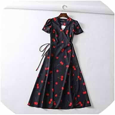 416e1aa6bbc298 Privacy v Neck Dress Women Chiffon midi Dress Boho Flower dot Print Dress  Casual red Black