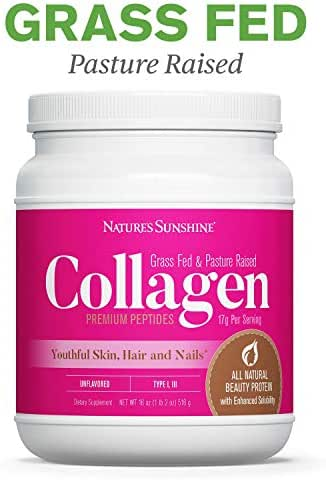 Nature's Sunshine Collagen Powder | Type I and III Grass Fed & Pasture Raised Premium Bovine Collagen Peptides, All-Natural, Non-GMO, Gluten Free, Dairy Free, Unflavored