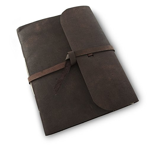 Everest Explorer Leather Writing Journal with Handmade Vintage Lokta Paper, Made in the Himalayas of Nepal, 8 X 10 inch, Extra Large