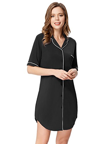 Zexxxy Women Comfy Nightgown Loungewear with Pockets Notch Collar Pj Black (Stripe Long Lounger)