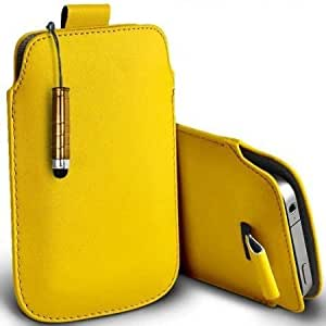 Cerhinu Shelfone Stylish Protective Leather Pull Tab Skin Case Cover For Huawei ASCEND Y100 S Includes Stylus Pen Yellow...