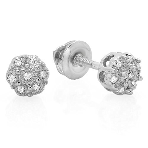 0.06 Carat (ctw) 10K White Gold Round White Diamond Ladies Cluster Flower Stud (0.06 Ct White Diamond)