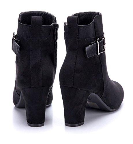 cm Argeliers Damen Cut Blockabsatz Stiefeletten Stiefel Boots Schwarz Stretch Schuhe Schuhtempel24 Klassische schlupf 8 Out SnxqHd6