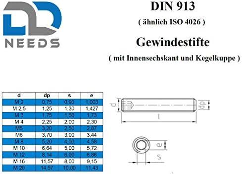 Madenschrauben Gr/ö/ße: M5 x 16 mm ISK Gewindestifte nach DIN 913 mit Innensechskant und Kegelkuppe aus Edelstahl A2 // V2A VPE: 20 St/ück D2D