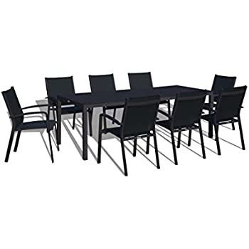 UrbanFurnishing.net   9 Piece Modern Outdoor Patio Dining Set   Black On  Black