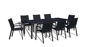 UrbanFurnishing.net - 9 Piece Modern Outdoor Patio Dining Set - Black on Black