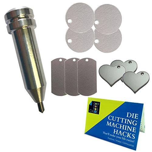 Chomas Creations Etching/Engraving Tool for Maker and Explore, Metal Stamping Blanks: Round, Heart, and Dog Tags and Die Cutting Hacks - Scrapbooking Tags Dog