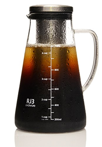Airtight Cold Brew Iced Coffee Maker and Tea Infuser with Spout – 1.0L/34oz Ovalware RJ3 Brewing Glass Carafe with Removable Stainless Steel Filter