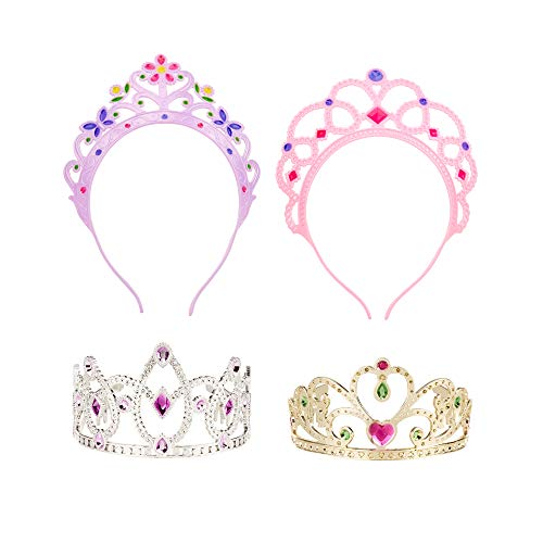 Melissa & Doug Role-Play Collection Crown Jewels Tiaras, Pretend Play, Durable Construction, 4 Dress-Up Tiaras and Crowns, 12