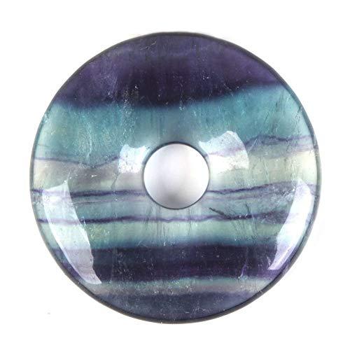 30mm Rainbow Fluorite Donut Gemstone Pendant Focal Bead ()