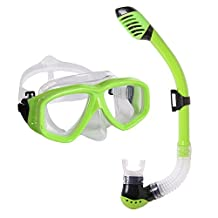 Snorkel Mask Set - KIDS Snorkeling Gear - Double Lens Diving Mask & Snorkel w/ Dry Top, Lower Purge Valve, Perfect for Diving, Snorkeling, Swimming -Ivation,Green