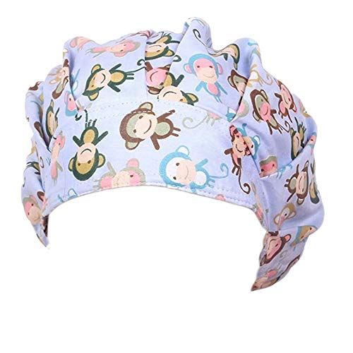 QiaTi Women Scrub Hats with Sweatband Adjustable Cotton Bouffant Cap Doctor Scrub Cap Free Size (Fashion 4)