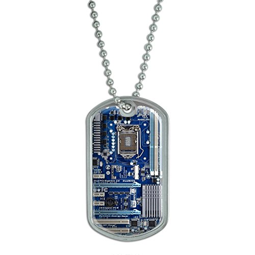 Blue Computer Motherboard - Processor CPU Memory Military Dog Tag Keychain