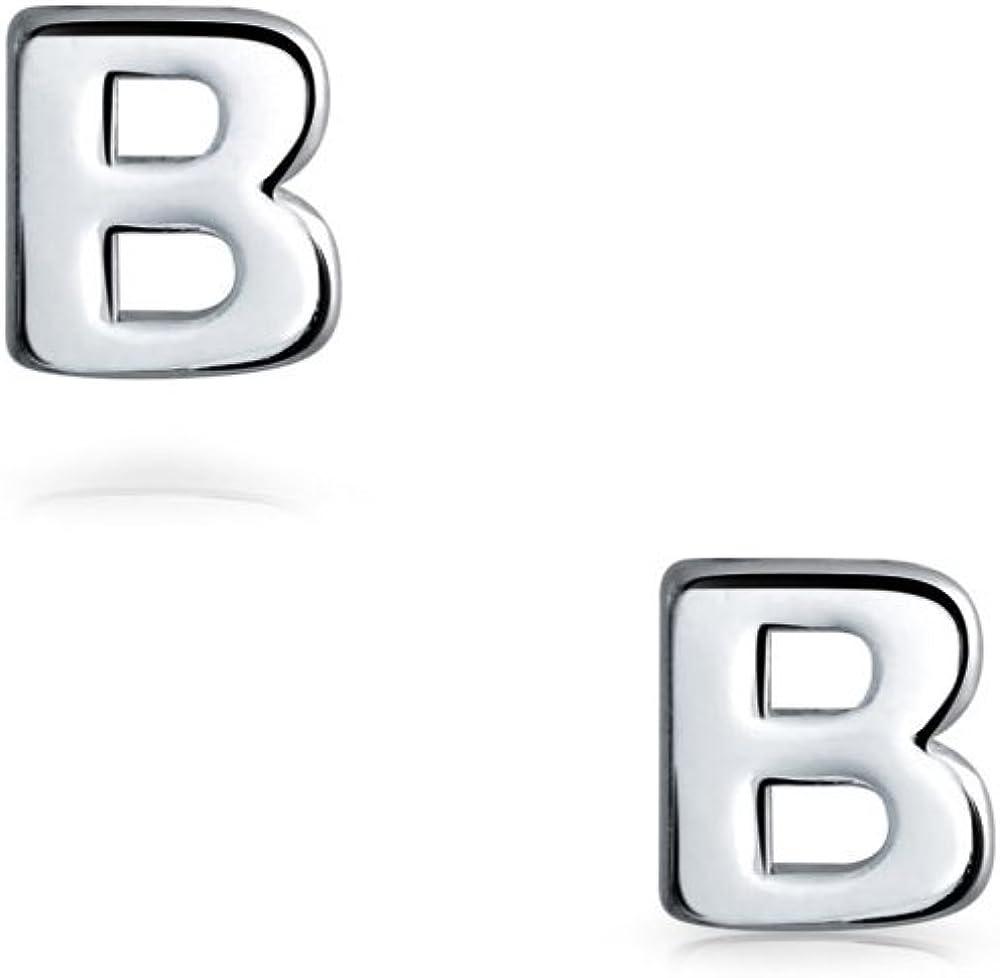 Abc Bloque Capital Geom/étrico Minimalista Inicial Letra B Pendiente De Boton Inicial Para Adolescentes Para Mujer 925