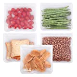 SPLF Leakproof Reusable Storage Bags (5 Pack), Extra Thick FDA Grade PEVA Ziplock Bags, Ideal For Lunch Sandwich, Food Snacks, Make-up, Travel Home Organization and More