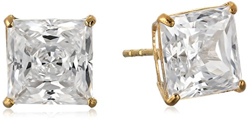 10K Yellow Gold Stud Earrings set with Princess Cut Swarovski Zirconia (3 cttw)