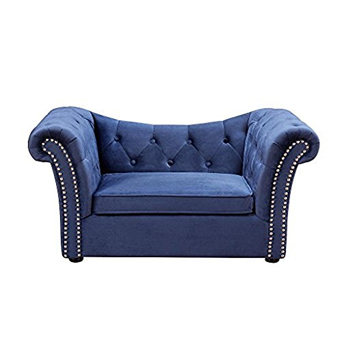 Tov Furniture The Dachshund Collection Handmade Waterproof Velvet Upholstered Pet Bed, Navy