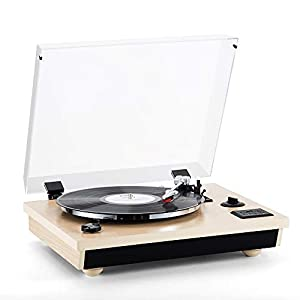 Shuman Wireless 3-Speed Turntable with Stereo Speakers Natural Wood Vinyl Record Player, Belt-Drive, Vinyl to MP3 Recording, USB (MC-262T/T Oak)