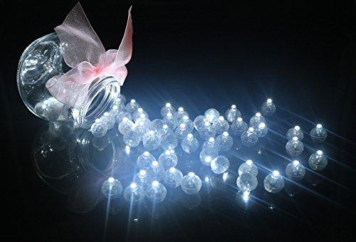 100pcs LED Mini Round Ball Balloon Light, Long Standby Time Ball Lights for Paper Lantern Balloon Halloween Party Wedding Decoration(White)]()