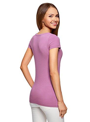 Pacco Aderente T Ultra Basic 3 oodji Shirt 4c00n di Donna Viola ZxqYTSXwE