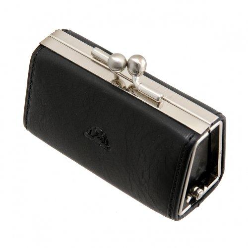 Tony Perotti Italian Versilia Leather Clip Coin Holder - TP0352 Black