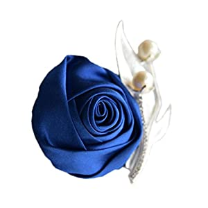 S_SSOY Boutonniere Bridegroom Groom Men's Boutonniere Groomsmen Best Man Boutineer with Pin Artificial Flower Brooch Corsage for Wedding Homecoming Prom Suit Decor Royal Blue Pack of 4
