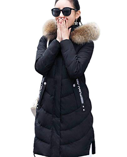 Trapuntata Cappotti Elegante Pelliccia Colori Lunga Piumini Cerniera Donna Collo Sintetica Moda Manica Autunno Chiusura In Caldo Piumino Solidi Comodo Invernali Costume Giacca Cappotto A Invernali Schwarz PZZ6x0