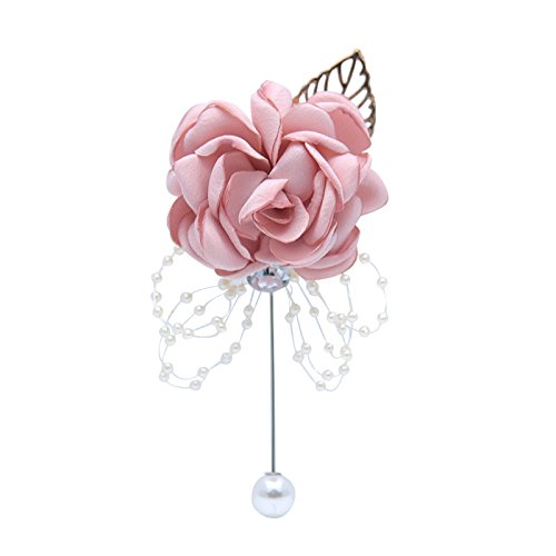 Abbie Home Classic Boutonnière for Prom Party Wedding Ball Event Blooming Rose Rhinestone Pearl Decent Brooch Pin for Suit Dress (Pink ()