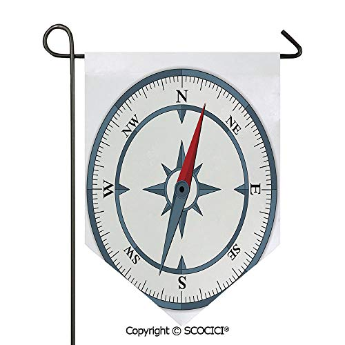 Easy Clean Durable Charming 28x40in Garden Flag Minimalist Design Compass with Windrose Finding Your Way on the Sea Navigation Decorative,Slate Blue Red Double Sided Printed,Flag pole NOT included ()
