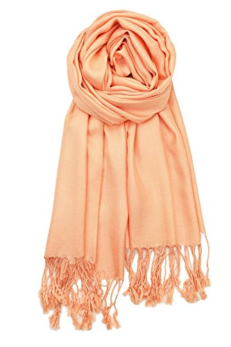 Achillea Large Soft Silky Pashmina Shawl Wrap Scarf in Solid Colors (Solid Peach) (Peach Label)